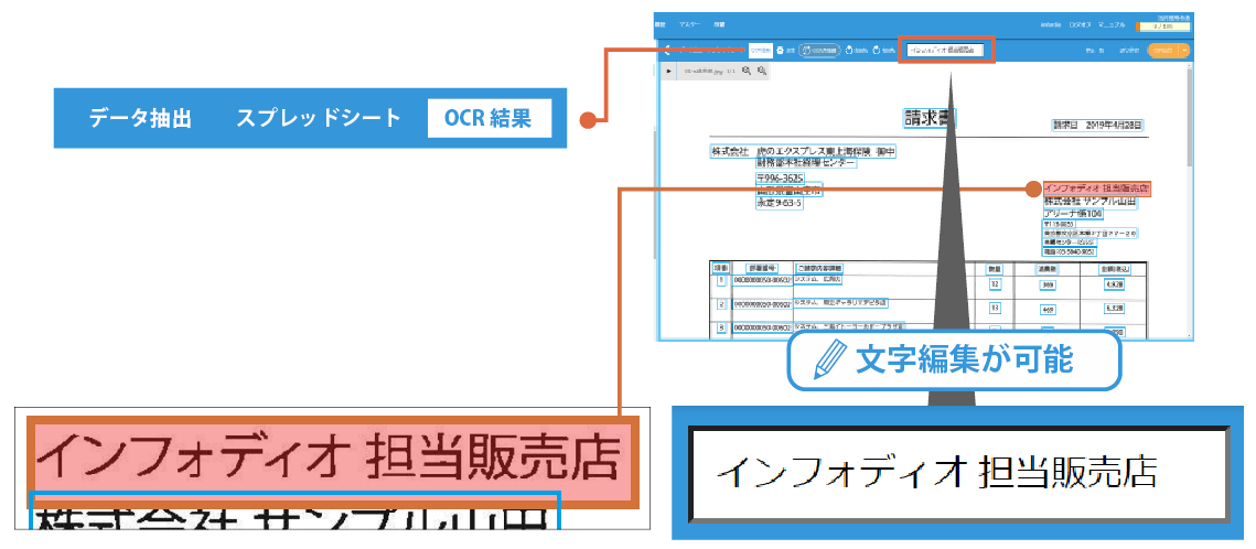 OCR結果の文字修正